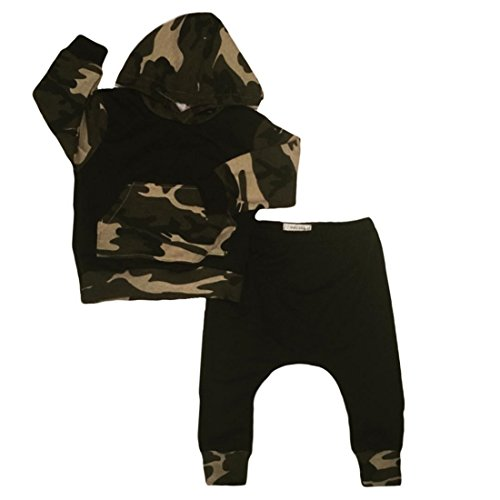 Infant Baby Boys Camouflage Hoodie Tops +Long Pants Outfits Set Clothes 0-3Y (12-18 Months, Camouflage)