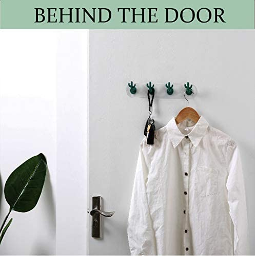 Mum-EU Adhesive Hooks, Cute Plastic Cactus Hook Adhesive Wall Hanger for Kitchen Bathroom Office Closet - Waterproof, No Drill Glue Needed (Dark Green-2 Pack)
