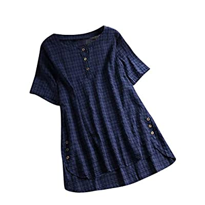 YOCheerful Women Loose Shirt, Womens Short Sleeve Shirt Spring Summer Cotton Linen Top Blouse Plus Size Jumper Tunic