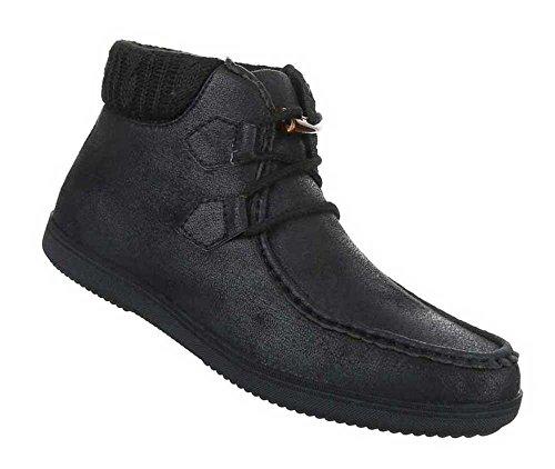 Herren Boots Schuhe High-top Schwarz Schwarz