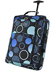 21/55cm 5 Cities Black Carry On Lightweight Cabin Approved Trolley Bag Hand Luggage