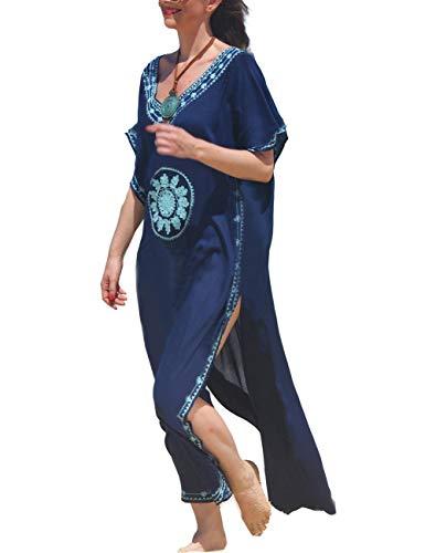 (Women Navy Floral Embroidery Kimono Swimsuit Bohemian Boho Kaftan Beach Dresses Robe Gown (7114-1))