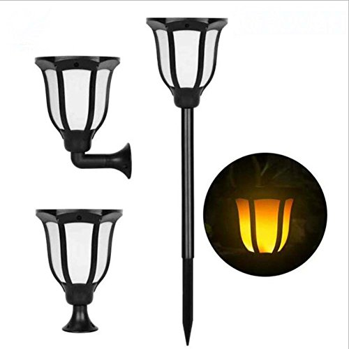 GJX Waterproof Flame Lamp,Outdoor Solar Beating Flame Light, Plug In Lawn Light/Base/Wall Mount Lawn Light