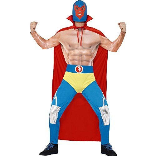 [Smiffy's Men's Mexican Wrestler Costume, Cape, Leggings, Attached pants and Mask, Around the World, Serious Fun, Size M,] (Hippo Costume For Toddler)