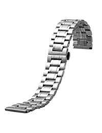 YISUYA 19mm Solid Mens Silver Stainless Steel Band 1.9cm Width Wrist Watch Band Strap Push-Button Hidden Butterfly Clasp Gifts for Watch