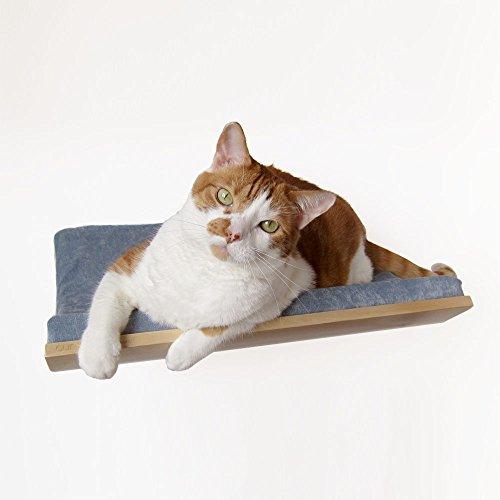 - Akemi Tanaka Curve Wall-Mounted Cat Bed, Birch/Blue