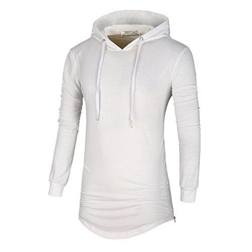 DAVID.ANN Mens Hipster Hip Hop Pullover Longline Side Zipper Long Sleeve Hooded T Shirt,White,XX-Large by DAVID.ANN