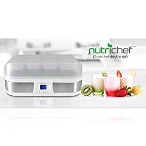 NutriChef PKYM80 - Electronic Yogurt Maker Machine with Digital Display Timer Function - 8 Glass Jars