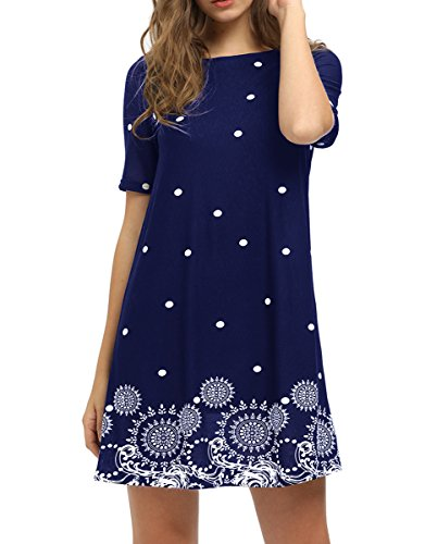 Romwe Women's Short Sleeve Floral Print Loose Casual Tunic Swing Summer Shift Dress Navy L
