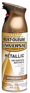 Rust-Oleum 260728 Universal All Surface Spray Paint, 11 oz, Metallic Antique Brass