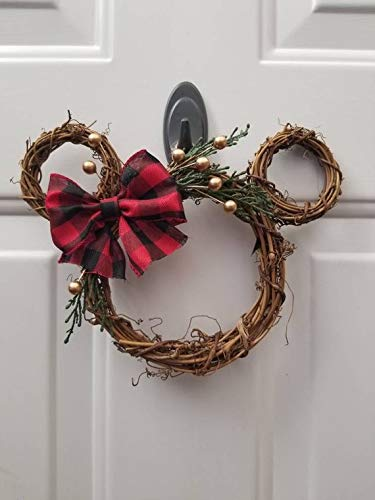 "A Little Magic Decor Disney Christmas/Fall Small Minnie Wreath - Buffalo Plaid Bow 10"" x 8"" (Red with Silver Accents)"