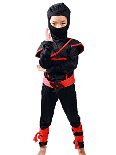 Sorrica Children's Halloween Costume Ninja Martial Art Warrior Dress Up For Boys/Girls Role Play 2-8 Years (S(Fit For 3-4 Years), Black)]()