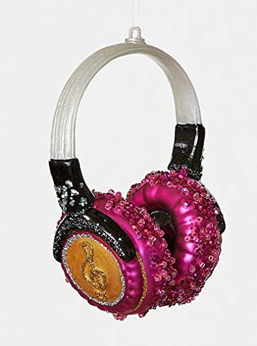 Neon Earbud Headphones - On Holiday Glass Neon Pink Headphone Christmas Tree Ornament
