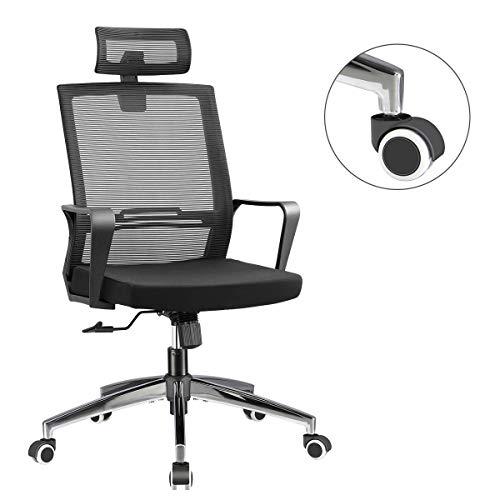 Office Chair High Back Executive Computer Desk Chair, Adjustable Tilt Angle Headrest Lumbar Support Ergonomic Swivel Chair (Mesh (Metal Base))