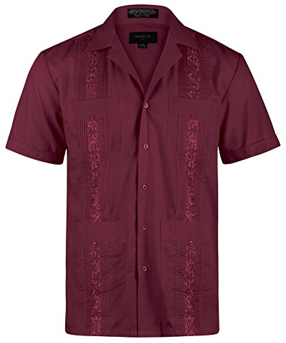 Ward St Men's Short Sleeve Cuban Guayabera, S, 14-14.5N, Burgundy -