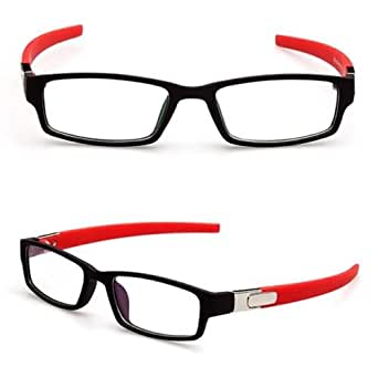Black with Red temples Sports Fashion Eyeglass Frame Optical Eyewear Clear lens Plain glasses Rx 2218