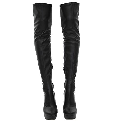 Stretch Boots Fit Womens Thigh Sexy Wide The Ladies High Size Knee Stretchy Over Stilleto Black 0TqRzwOR