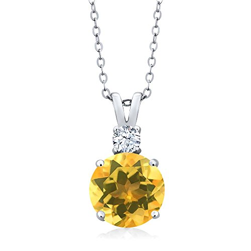 Necklace Citrine Topaz (Yellow Citrine and White Topaz 925 Sterling Silver Women's Pendant Necklace 3.34 Ctw Round with 18 inch Chain)