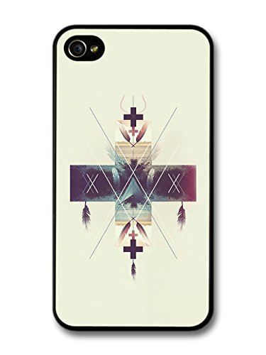 Cool Hipster Shapes with Feathers and Colourful Art case for iPhone 4 4S