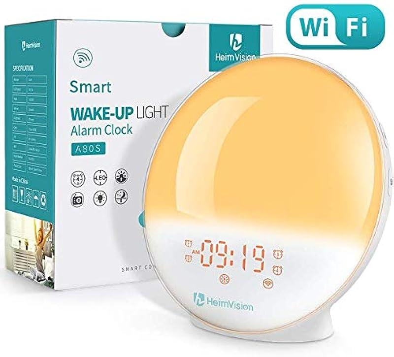 WiFi 자명종광 자명종 라이트 스마트 시계 Alexa/Google home에 제어 디지탈 시계 《스누즈》기능 자연음 화이트 노이즈 숙면 상품 FM라디오 20단계조광 HeimVision A80S