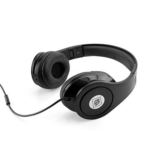Delton Sonic Wave 1000 DJ Headphones with Mic, Black