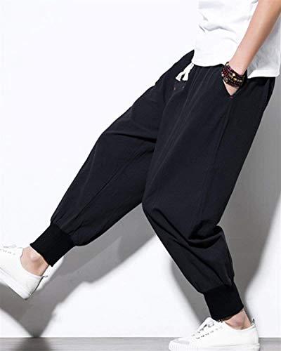 Battercake Negro Bloomers Sólido Lino Color Loose De Los Aladdin Joggers Bolsillos Con Ocio Cómodo Harén Cómodos Pantalones Hombres rOqxwfCTra