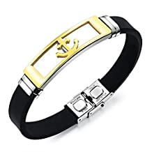 COCO Park New Fashion Men Kpop Jewelry Stainless Steel Anchor Pendant Silicone Adjustable Bracelet