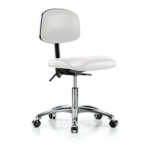 Perch Chrome Rolling Laboratory Chair With Adjustable Back Support for Medical Dental Office Home Kitchen Garage 17