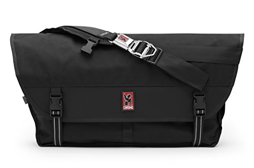 Chrome BG-003-BKBK Black One Size Metropolis Messenger Bag Chrome Buckle by Chrome