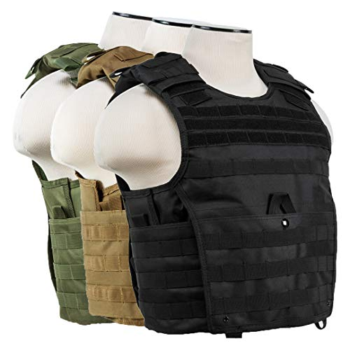 ATG Expert Tactical Vest MOLLE and PALS Fully Adjustable M-2XL Law Enforcement (Tan, M-XL)