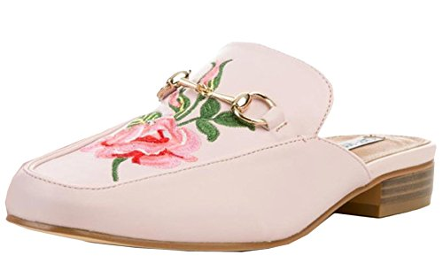 Cape Robbin Women's Slip On Floral Embroidered Mules (6.5 B(M) US, Pink)