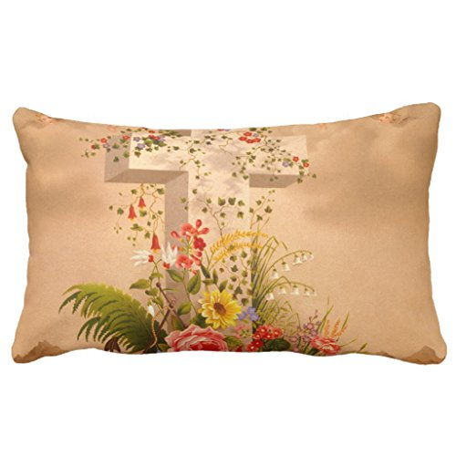 Zazzle Vintage Faith Hope Charity Easter Cross 1875 Throw Pillow 13'' x 21'' by Zazzle