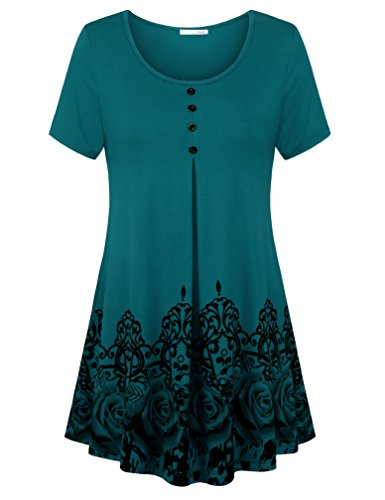Sleeve Short Line Crewneck Tee (Womans Tunic Shirts and Blouses 2018 Fashion Floral Design Flared A Line Plus Size Tees Crew Neck Tops Short Sleeve Casual Loose Fitted Tunics Dark Cyan XX-Large)