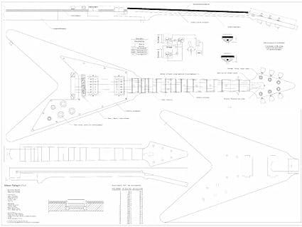 Full báscula de caza V planos para crear Gibson para guitarra eléctrica