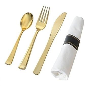 70 elegantes juegos de cubiertos de plástico - Cubertería envuelta en servilleta/juego de rollos de servilletas - horquillas de plástico dorado ...