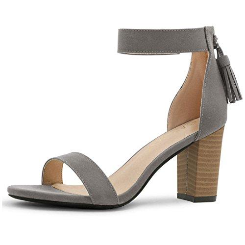 - Allegra K Women's Tassel Stacked Heel Ankle Strap Sandals (Size US 7) Dark Grey