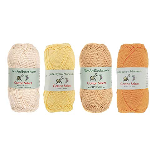Cotton Select Sport Weight Yarn Color Palette Pack - 100% Fine Cotton - Shades of Yellow - 4 Skeins