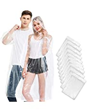 OxySoul Rain Poncho Disposable, Clear Adult Ponchos with Hood, 10 Pack Raincoat for Men & Women, White, Large