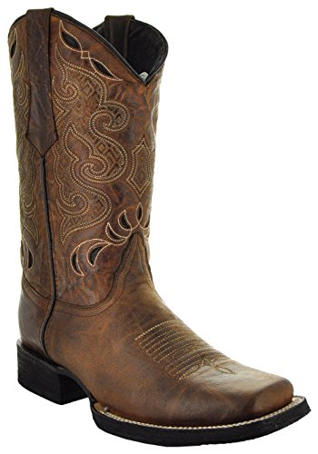 Soto Boots Men's Broad Square Toe Boots H50019 (10.5, Tan)