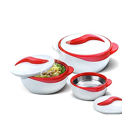 Set of 3 Thermo Dish Hot or Cold Casserole Serving Bowls with Lids