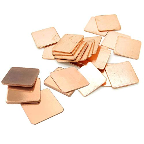 Kalolary IC Chipset GPU CPU Thermal Heatsink Copper Pad Shims 25 Pack 5-Sizes 20x20mm for Cooling Laptop Copper Heatsink