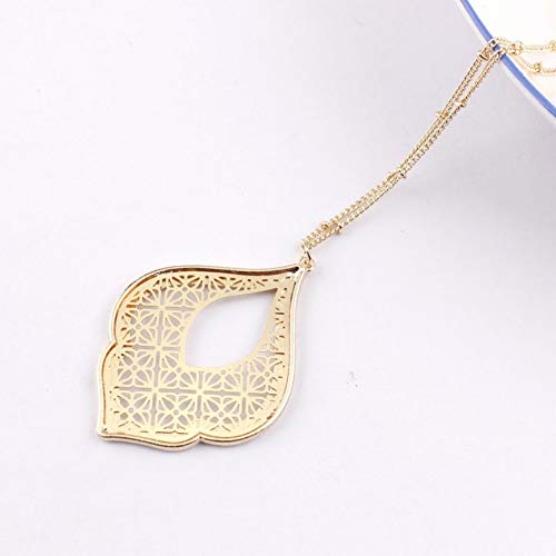 - GAJSDJHN Necklace Jewelry Gold Filigree Teardrop Necklace for Women Trendy Two Tone Geometric Statement Long Necklace Jewelry