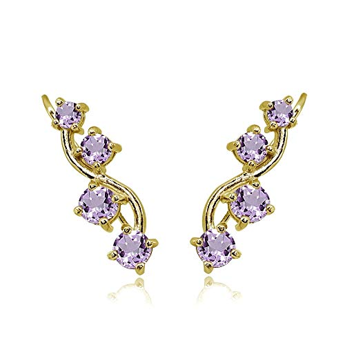 Gold Genuine Amethyst Bracelet - Gold Flash Sterling Silver Amethyst Vine Climber Crawler Earrings for Women
