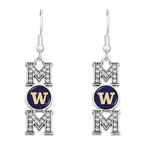 - FTH Washington Huskies MOM Earrings with Logo and Rhinestones