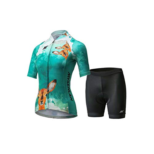 - Mysenlan Women's Cycling Jersey & Shorts Set 3D Padded Short Pants Short Sleeve Breathable Bike Shirt Bicycle Clothing Green