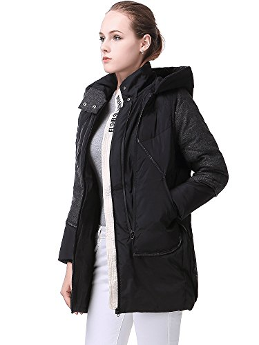 Miya Thickened Hooded Down Jacket Women Long Overcoat For Women Coat, Black, X-Large
