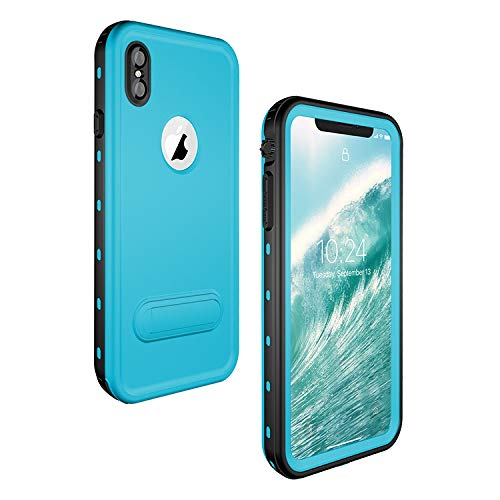 iPhone Xs Max Waterproof Case, ZERMU Colorfue Kickstand Shockproof Snowproof Cover IP68 Underwater Full Body Protection Built-in Screen Protector Underwater Waterproof Case for iPhone Xs Max 6.5 inch