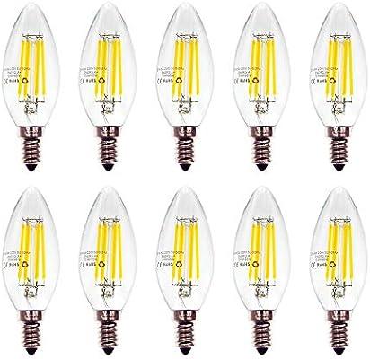 WULUN Pack de 10 Bombillas LED E14 para Candelabro, Filamento de ...