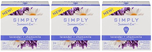 Summer's Eve Simply Cloths | Lavender and Chamomile | 14 Count | Pack of 3 | pH Balanced, Free from Harsh Chemicals and Dyes