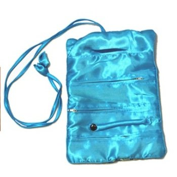 Silky Embroidered Brocade Jewelry Travel Organizer Roll Pouch